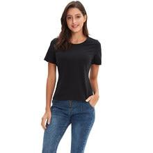 Camisa de manga curta para senhoras m30146 nova gola redonda camisa básica casual algodão cor sólida verão
