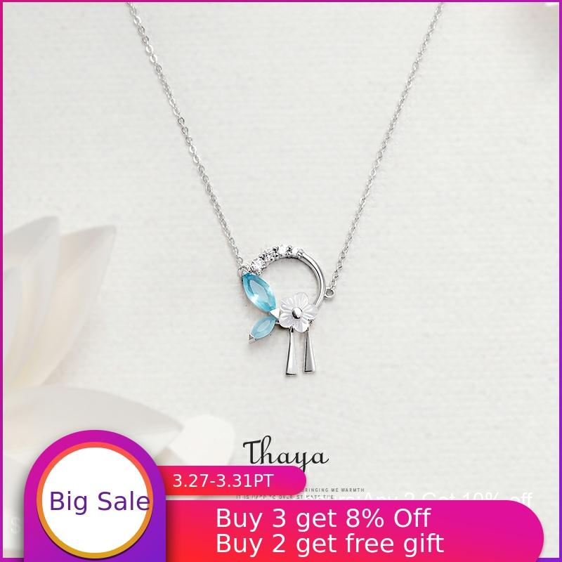 Thaya Flowers And Leaves Tassels Necklace 925 Silver Cubic Zircon Crystal Necklace For Fashion Gift