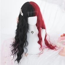 Парик LUPU для косплея красного, светлого, черного, синего, розового цвета, длинные вьющиеся парики Лолиты на Хэллоуин, синтетические волосы д...
