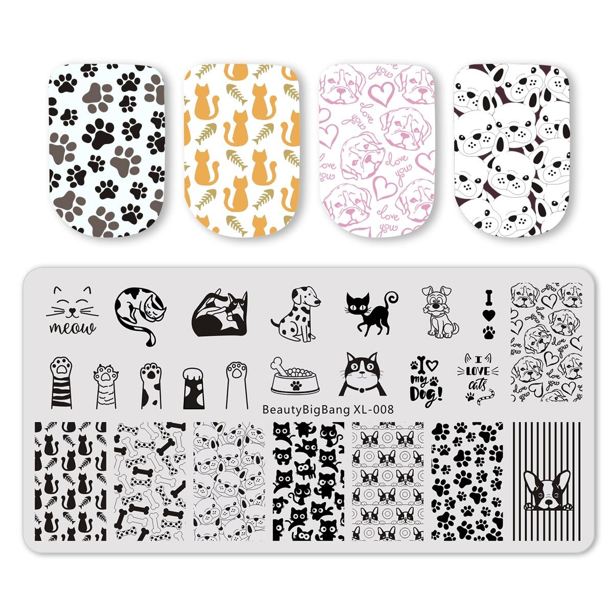 Новинка DIY прямоугольные пластины для стемпинга ногтей с изображением собаки кошки милых животных Шаблоны для дизайна ногтей шаблоны для м...