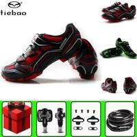Tiebao ciclismo sapatos de ciclismo mtb tênis adicionar spd pedal conjunto auto travamento bicicleta mountain bike tênis feminino Sapatos de ciclismo    -