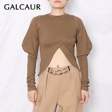 Galcaur/Повседневная футболка для женщин с круглым вырезом и