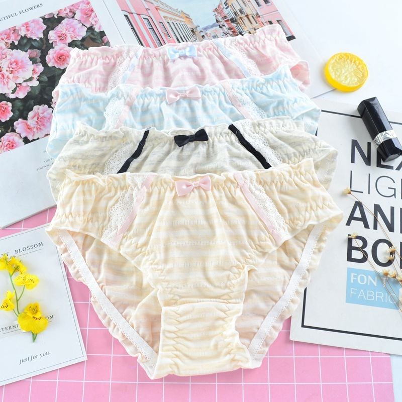 SP&CITY Japanese Colorful Striped Cotton Underwear Ruffles Edge Sexy Panties For Women Cute Bow Seamless Briefs Female Lingerie