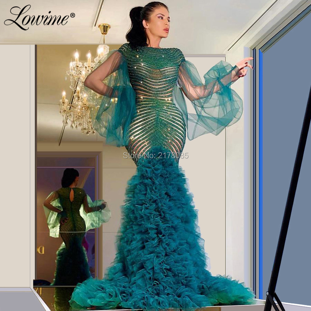 Image 3 - Beads Mermaid Evening Dress Robe De Soiree 2020 Pageant Party Gowns Puffy Long Sleeves Prom Dresses Aibye Wedding Party DressEvening Dresses   -