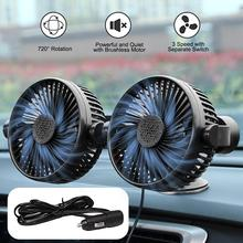 2018 newest mini fan car truck cute air fan 3 speed strong wind air cooling machine black and white low noise for car 12V/24V 360 Degree All-Round Adjustable Car Air Cooling Dual Head Sucker Fan Mini Low Noise Car Cooling Fan Portable Desktop Fan