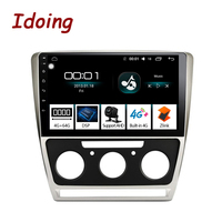 Idoing 10.2 1Din 2.5D Car auto Android Radio Multimedia Player Fit Skoda Octavia 2007 2014 4G+64G GPS Navigation Fast Boot Wifi