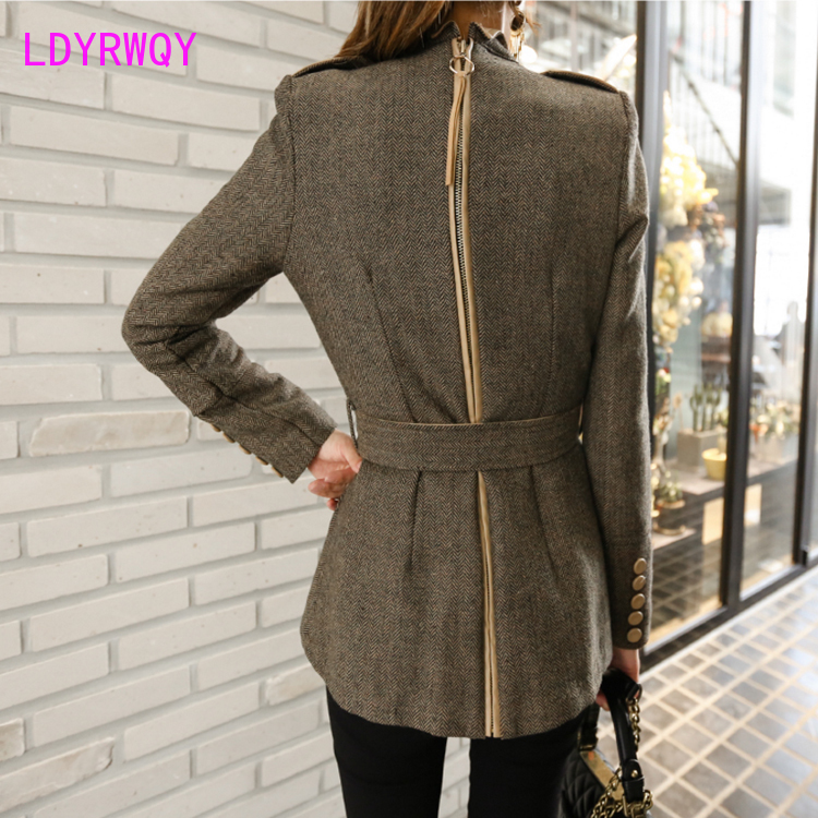 2019 autumn and winter Korean version of the new women 39 s fashion Slim waist belt long sleeved short woolen coat thick in Jackets from Women 39 s Clothing