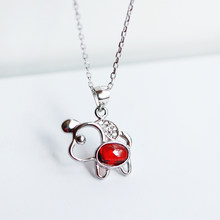 925 silver year of the year of the dog, red star, necklace, short chain, clavicle chain, new year's 38 gift A5301(China)