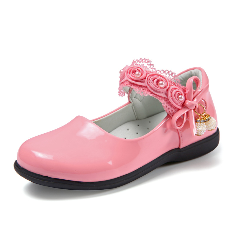 ><font><b>2020</b></font> <font><b>Spring</b></font> <font><b>New</b></font> Girls Princess Leather Shoes For Kids Shoes Baby Red Fashion Bow Flowers Children Dress Flat Shoes Wedding Party