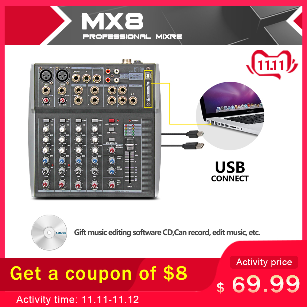 Xtuga MX8 Professional Audio Mixer Sound Console DJ Machine 8 Channels Double 3 Band Graphic EQ USB Directly Connected Computer