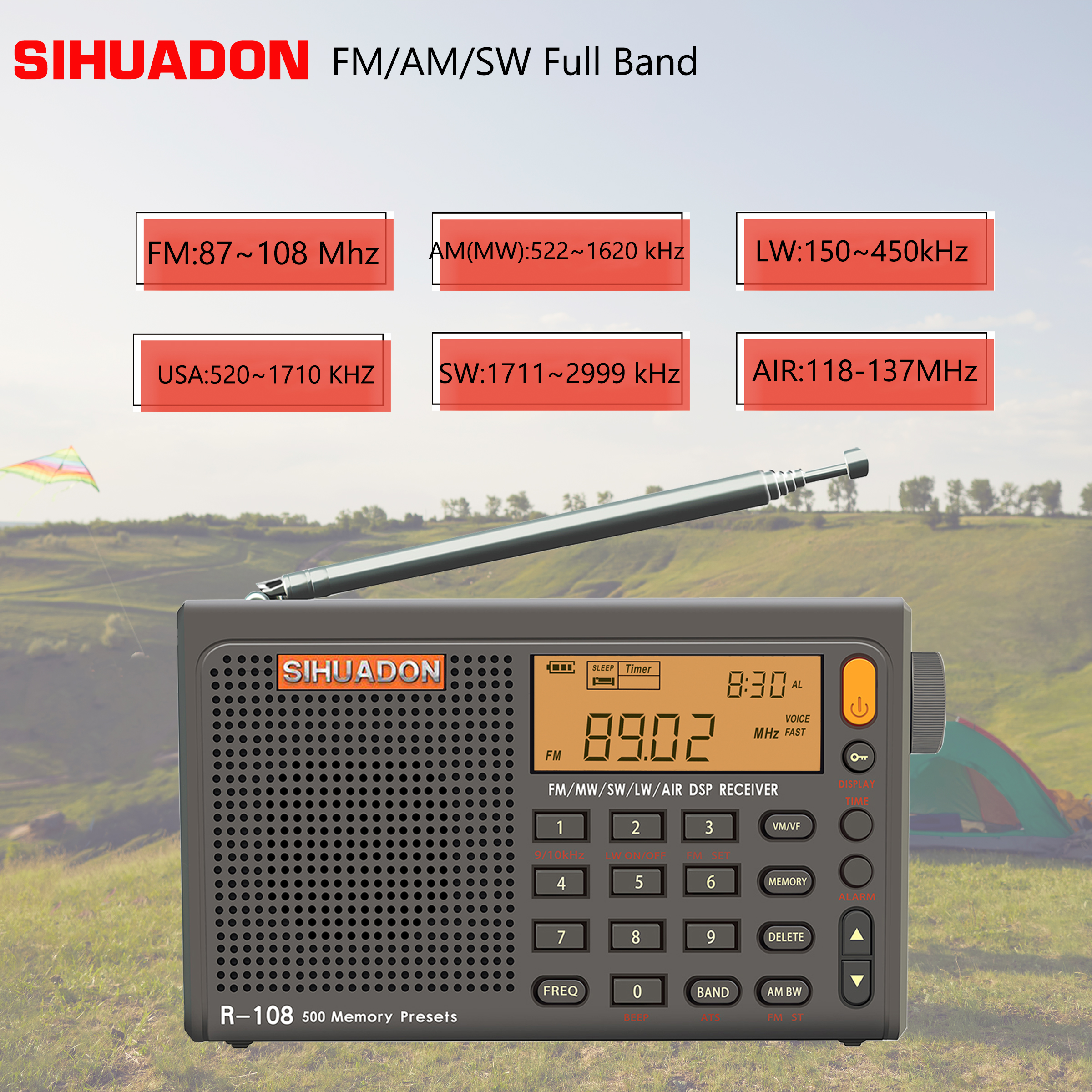 SIHUADON R-108 רמקולים נייד רדיו FM סטריאו הדיגיטלי רדיו AM מעורר שעון מלא בנד Pocket רדיו מקלט