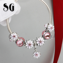 SG Magnolia Bracelet Europe Jewelry Alloy Pink flower charm fit Original bangle Accessories for women gifts