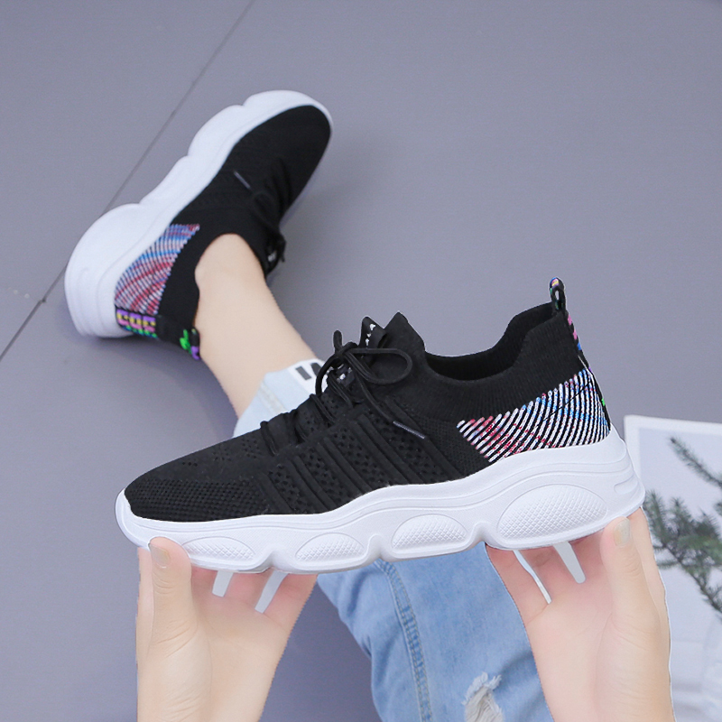 Women casual shoes breathable tenis lightweight Walking mesh lace up flat shoes sneakers women zapatos de mujer de moda 2019 in Women 39 s Flats from Shoes