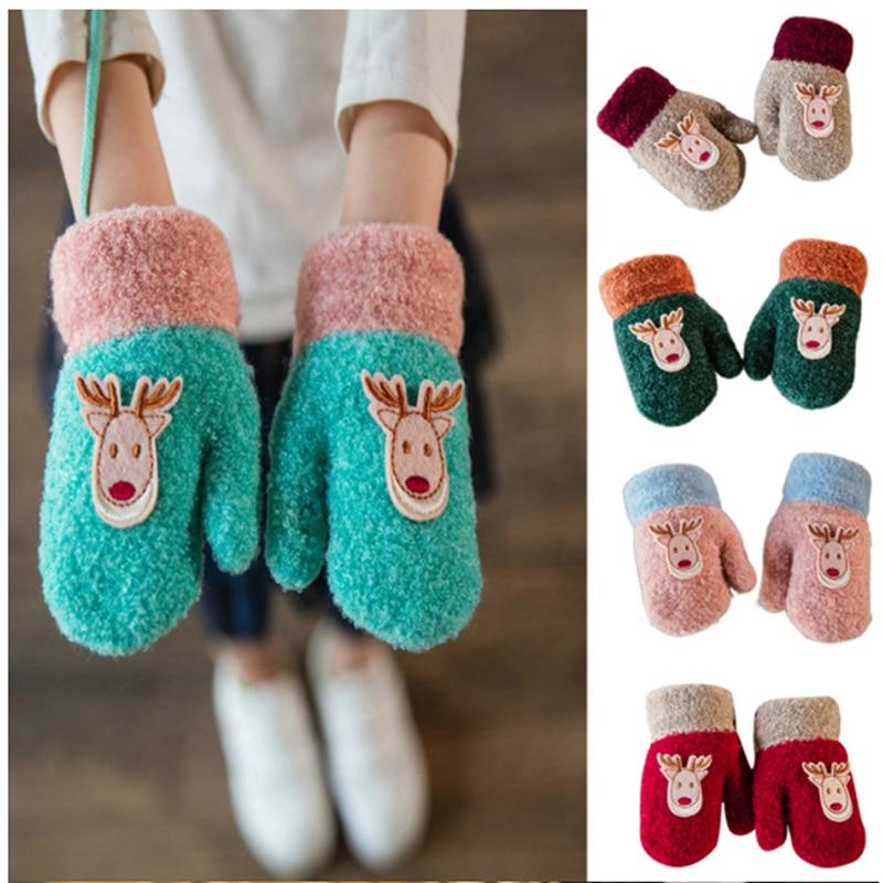 New Fashion Children Christmas Thick Gloves Warm Winter Knitted Gloves Mittens Lovely Deer Girls Boys Gloves