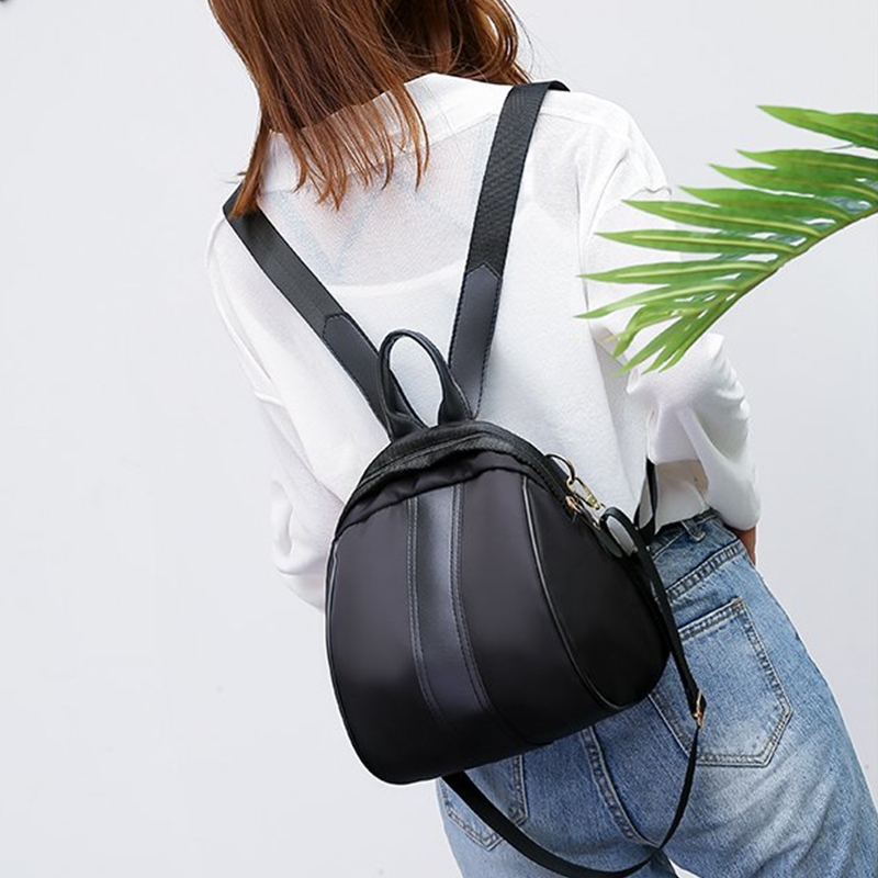 Ladies Casual Small Backpack Nylon Zipper Long Shoulder Strap Women Bag Student Shopping Out Mobile Phone Cosmetic Girl Bag