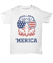 'Merica 4Th Of July Bald Eagle Patriotic T-Shirt Usa American Flag Unisex Tee Fitness Tee Shirt(China)