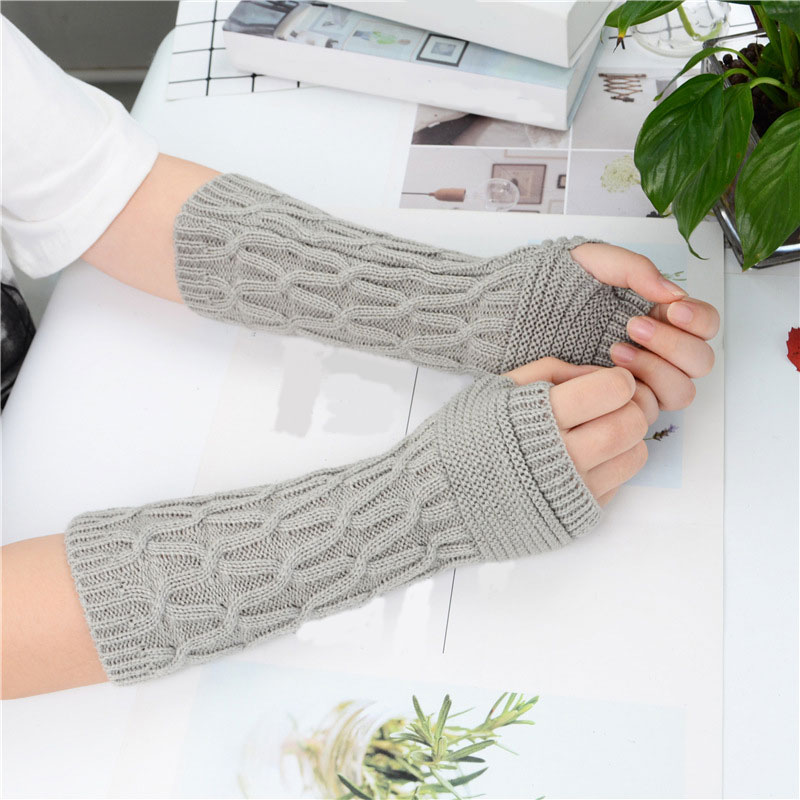 New Fold Pattern Women Gloves Knit Arm Warmer Gloves Winter Autumn Stripe Arm Wrist Sleeve Mittens Thicken Knitted Warm Glove