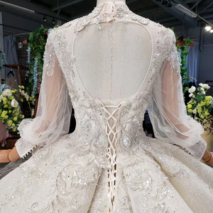 Image 4 - HTL969 ball gown wedding dress long sleeve tulle lace bead sequin illusion luxury wedding gown high neck свадебные платья 2020
