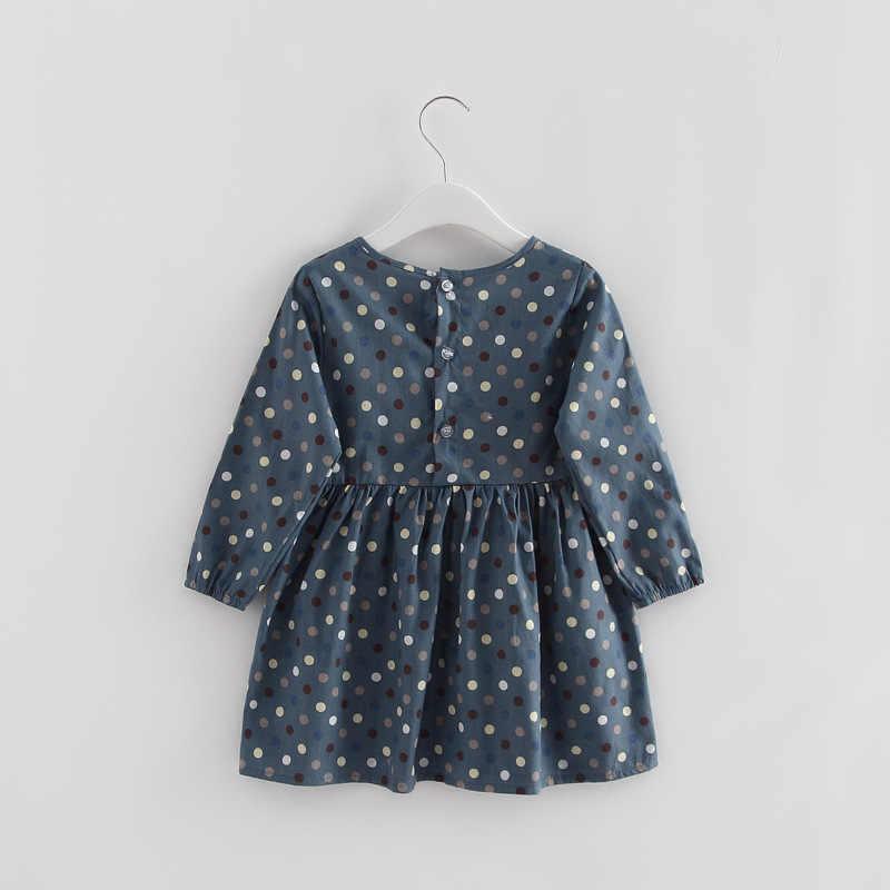 2019 outono menina vestido de algodão manga longa crianças vestidos polka dot crianças vestidos para meninas moda meninas roupas