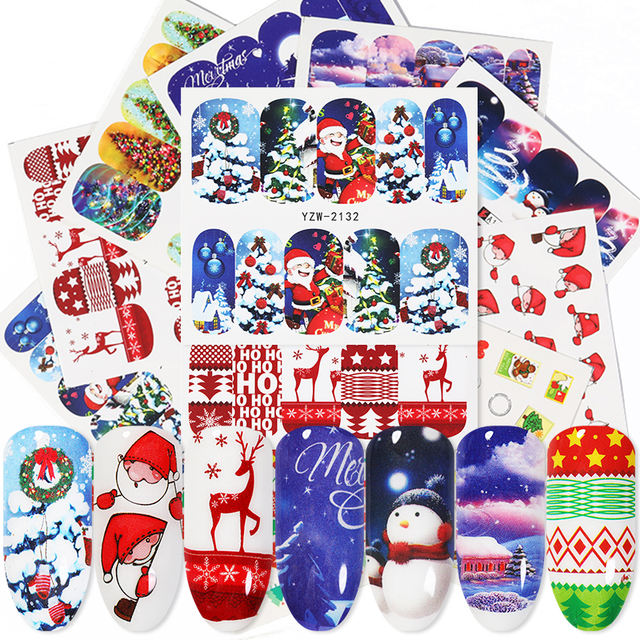1 Sheet Colorful Christmas Water Transfer Nail Art Stickers