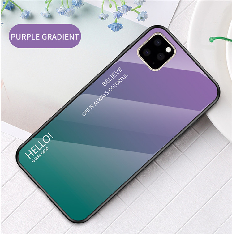 Ollyden Gradient Tempered Glass Cases for iPhone 11/11 Pro/11 Pro Max 12