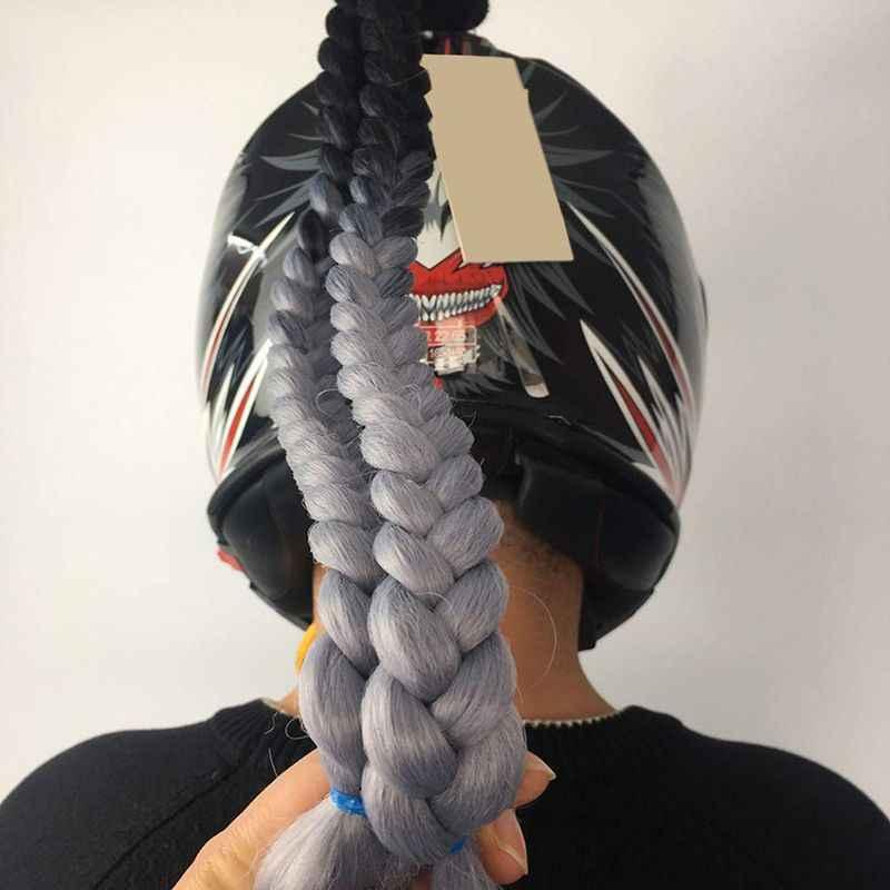 Sepeda Motor Helm Kepang Wanita Kepang Wig untuk Sepeda Motor Helm Twist Dual Pigtail Ekor Kuda dengan Sucker Busur 7 Warna