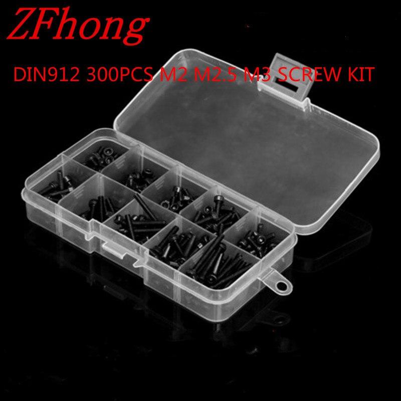 300pcs DIN912 Black M2 M2.5 M3 Allen Bolt Hex Socket Cap Head Screw And Nut Assortment Kit Set