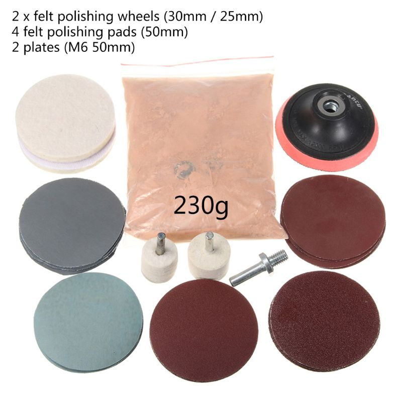 230g Cerium Oxide Polishing Powder And Felt Polishing Wheel Pad Drill Adapter For Watch Car Glass Scratch Cleaning