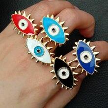 Эмаль, капля Золотое заполненное разноцветное туркис сглаза кольцо с изменяющимся размером для подарка девочки