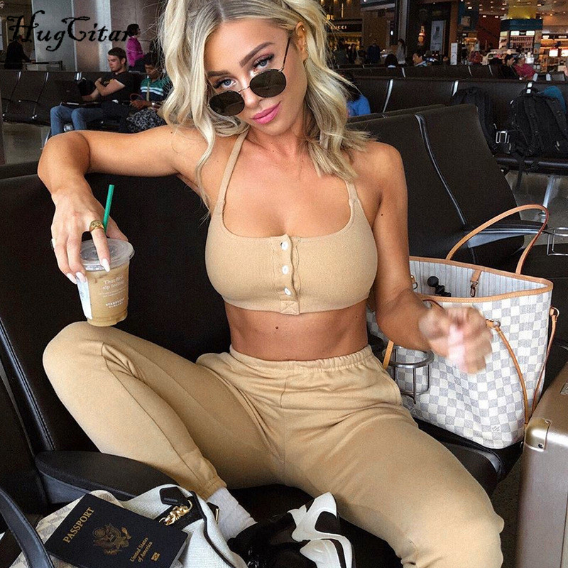 Hugcitar 2019 Spaghetti Straps Sexy Camis Leggings 2 Two Pieces Set Autumn Winter Women Streetwear Tracksuit Solid Outfits