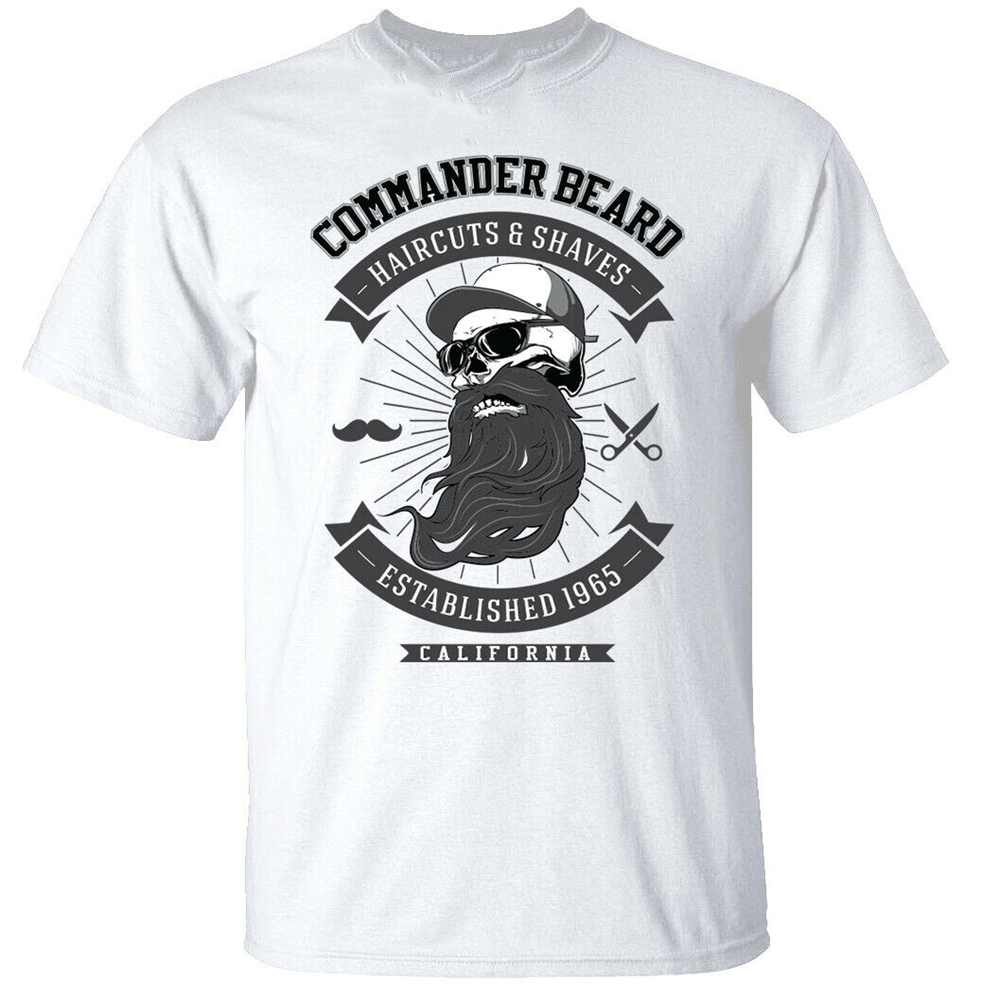 Commander Beard T-<font><b>Shirt</b></font> Mens Funny Moustache Barber Hipster <font><b>Shave</b></font> White Funny Design Tee <font><b>Shirt</b></font> image