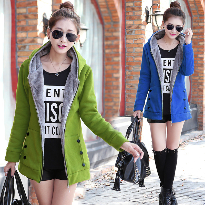 Warm Jacket Coat Spring Soft Autumn Plus-Size Ladies Cotton Solid Slim title=