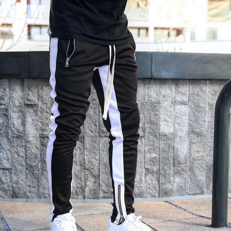 Mens Joggers Zipper Casual Pants Fitness Sportswear Tracksuit Bottoms Skinny Sweatpants Trousers Black Gyms Jogger Track Pants