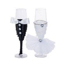 Новое платье стекло es высокое стекло Жених невесты Стразы свадебное платье шампанское пара чашки свадебные принадлежности
