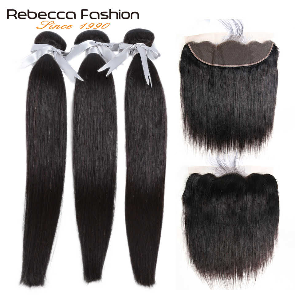 Rebecca Straight Hair Lace Frontal With Bundles Remy Malaysian Human Hair With Lace Frontal 3 Bundles With Frontal