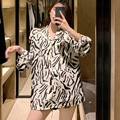 Женская верхняя одежда на весну и осень, свободная модная универсальная шифоновая рубашка с длинными рукавами и принтом зебры