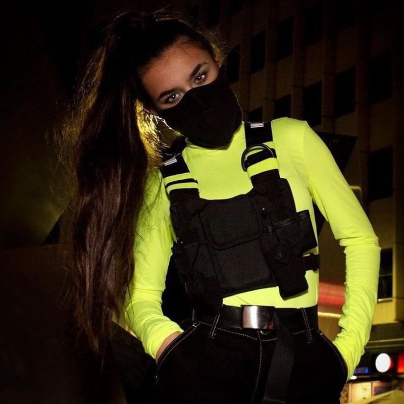 Streetwear Bag Men Black Functional Chest Rig Bags Military Adjustable Vest Hip-hop Chest Bag Woman Fashion Waist Packs WH714