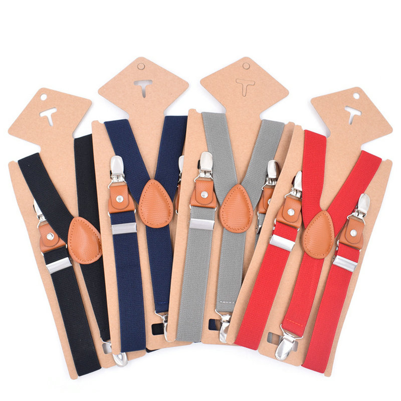 3 Clips Soild Children Boy Girl Pants Trousers 2.5cm Gift Clip-on Y-Back Braces Elastic Alloy Metal Head Adjustable Suspenders