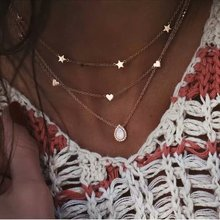 Bohemian gold crystal Multilayer Necklaces For Women Girl vintage gold chain necklace Pendant Necklace  Jewelry wholesale wholesale fine purple crystal pendants carved gold fish pendant sweater chain necklace luck for women men noble jewelry