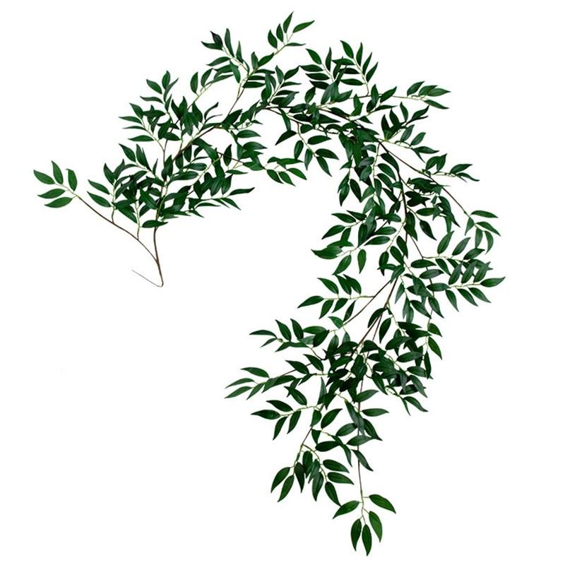 1.8M Artificial Fake Eucalyptus Willow Leaves Green Plants Wedding Diy Decor Flowers Plant Leaf Simulation Rattan Home Decor Sim thumbnail
