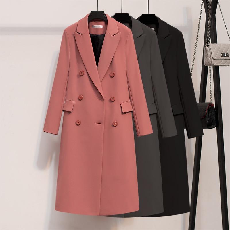 2019 Spring Autumn Blazers Women Small Suit Long Sleeve Jacket Casual Tops Female Slim Mid-Long Blazers Windbreaker Coat