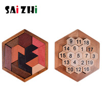 Saizhi Puzzles Learning Education Toys Funny 3D Puzzle Game Wooden Toy For Children Jigsaw Tangram Board Geometric Shape SZ3023