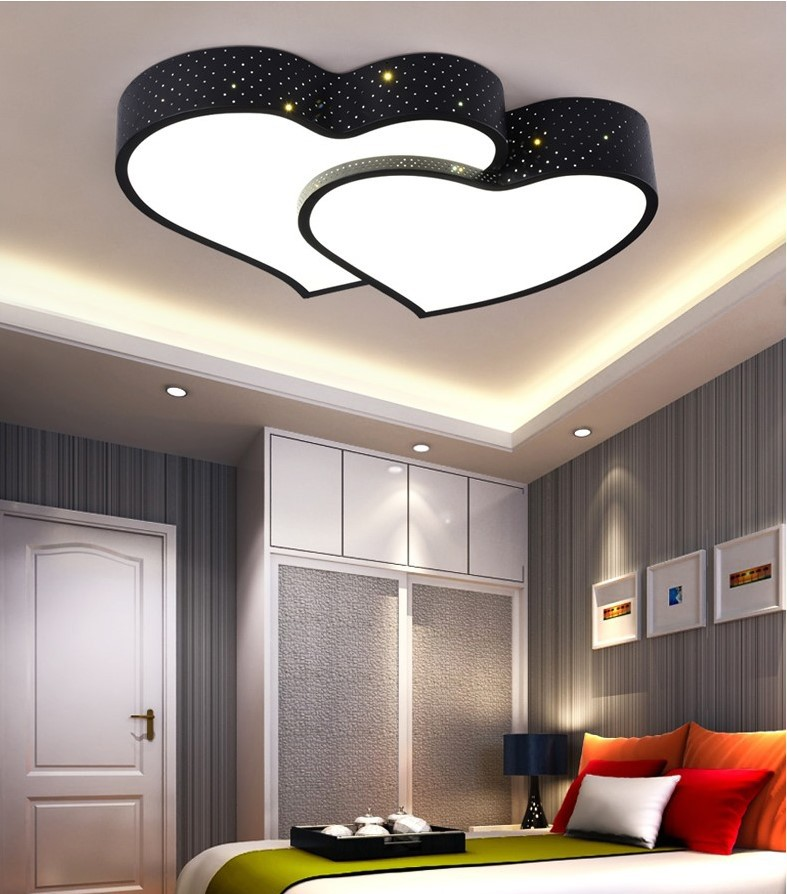 LED Ceiling Lamp Bedroom Library Lighting Modern Minimalist Marriage House Lamps Warm Double Heart Shaped Lamp Iron Art New