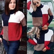 Long Sleeve Striped Printed  Women Pullovers Women Sweatshirt Autumn and Winter Turtleneck Long Sleeve Hoodies cut and sew striped knot sweatshirt