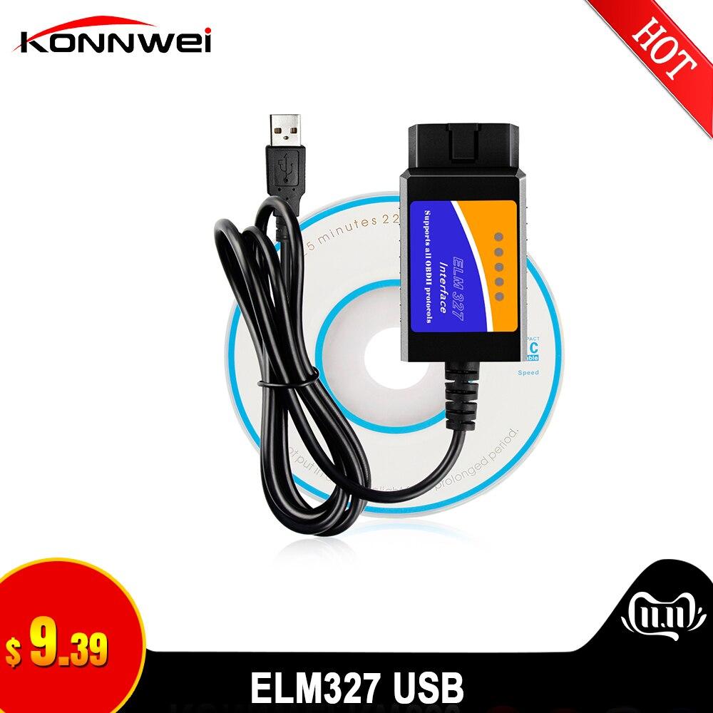 ELM327 USB OBD2 FTDI FT232RL Chip OBD II Scanner Automotive For PC EML 327 V1.5 ODB2 Interface Diagnostic Tool ELM 327 USB V 1.5