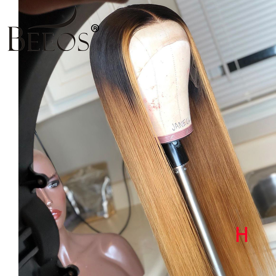 Beeos 360 Lace Front Human Hair Wig Highlight Ombre Colored 1B27 180% Straight PrePlucked Hairline Bleached Knots Brazilian Remy