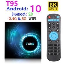 2021 caixa de tv inteligente novo t95 android 10.0 youtube hd 6k android caixa de tv google voz assistente pk h96 h616 x96q max caixa de tv android