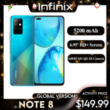 Infinix nota 8 smartphone 6gb 128gb 6.95 hd hd hd + display 5200mah bateria 18w rápida carga helicoidal versão global telefones celulares