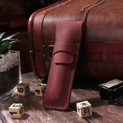 Ręcznie robiony piórnik ze skóry naturalnej  piórnik ze skóry wołowej  w stylu Vintage w stylu Retro  ręcznie robione kreatywne przybory szkolne|Piórniki|Artykuły biurowe i szkolne -