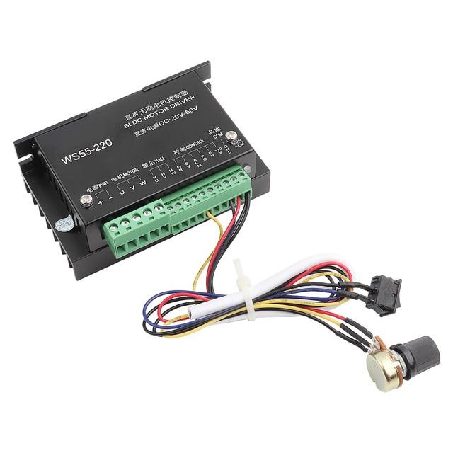 WS55 220 Motor Driver Controller Dc 48V 500W Cnc Borstelloze Spindel Bldc Motor Driver Controller Met Kabel